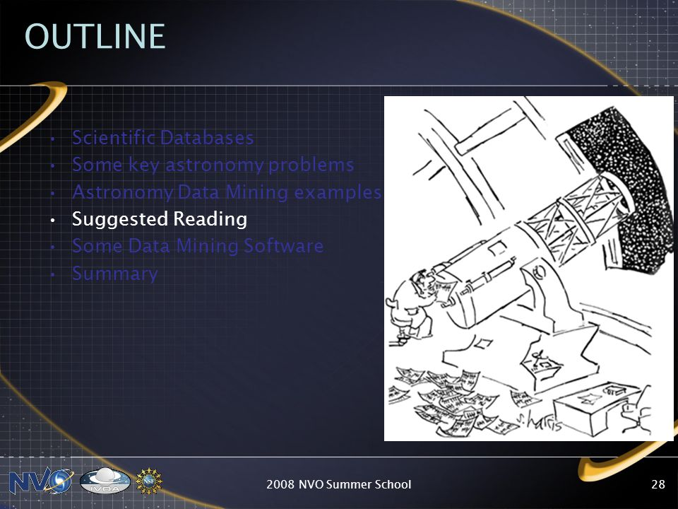 2008 NVO Summer School28 OUTLINE Scientific Databases Some key astronomy problems Astronomy Data Mining examples Suggested Reading Some Data Mining So