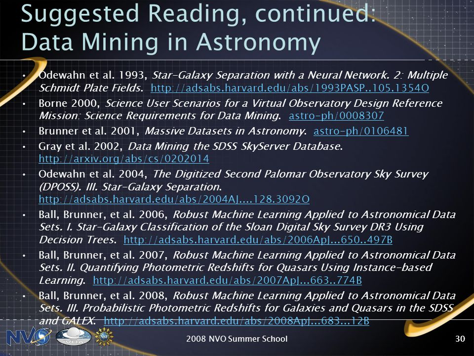 2008 NVO Summer School30 Suggested Reading, continued: Data Mining in Astronomy Odewahn et al. 1993, Star-Galaxy Separation with a Neural Network. 2: