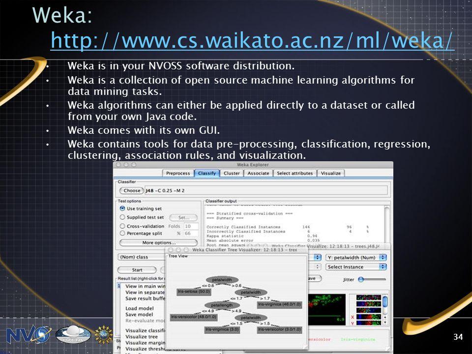 2008 NVO Summer School34 Weka: http://www.cs.waikato.ac.nz/ml/weka/ http://www.cs.waikato.ac.nz/ml/weka/ Weka is in your NVOSS software distribution.