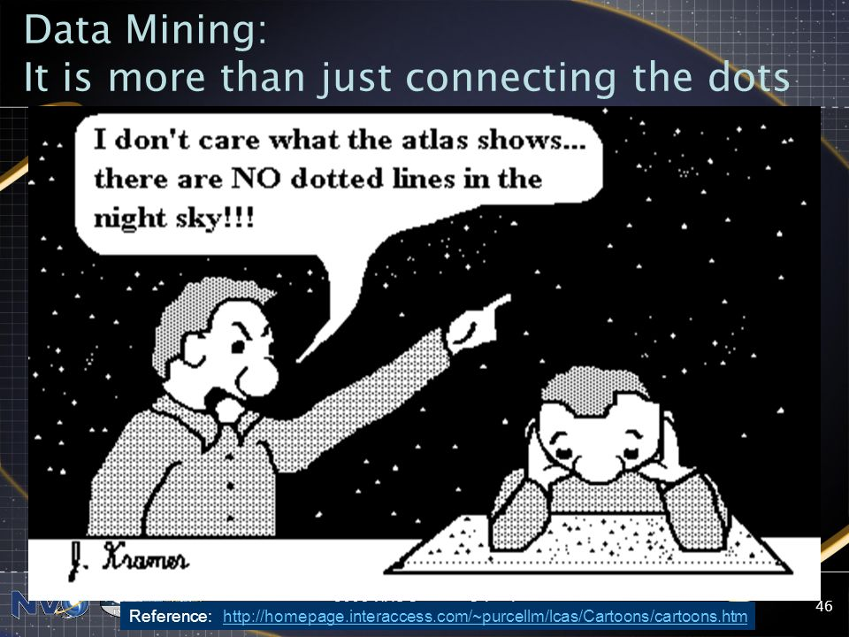 2008 NVO Summer School46 Data Mining: It is more than just connecting the dots Reference: http://homepage.interaccess.com/~purcellm/lcas/Cartoons/cart