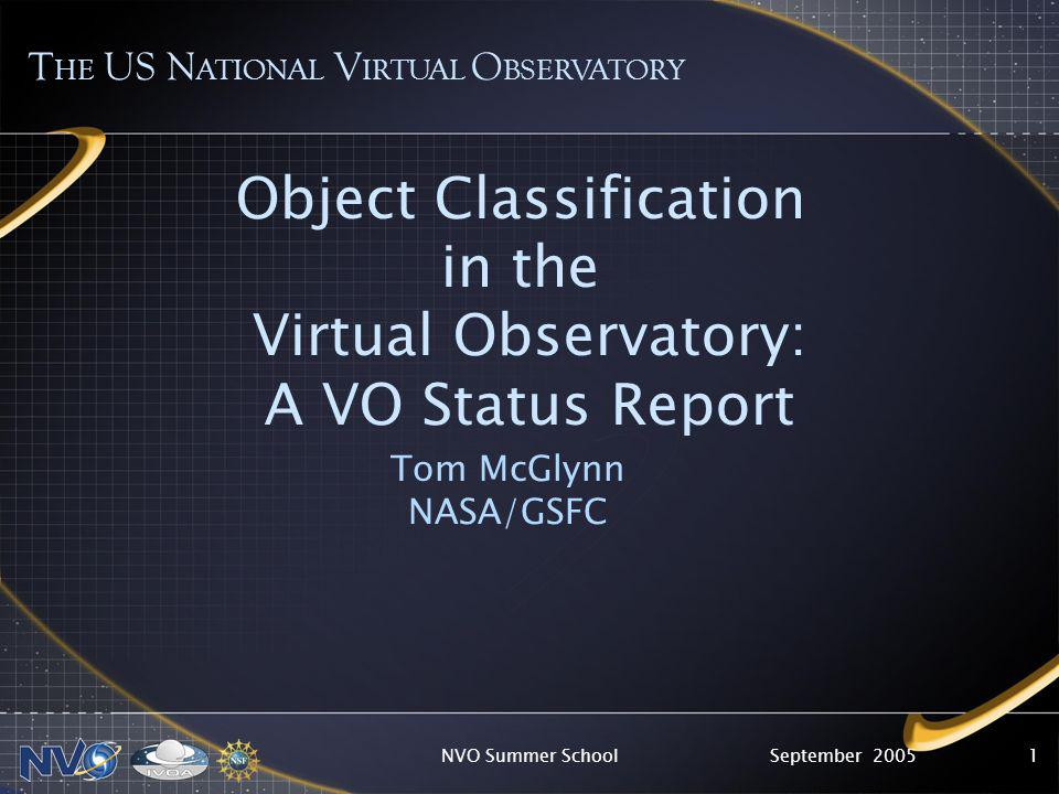 September 2005NVO Summer School1 Object Classification in the Virtual Observatory: A VO Status Report Tom McGlynn NASA/GSFC T HE US N ATIONAL V IRTUAL O BSERVATORY