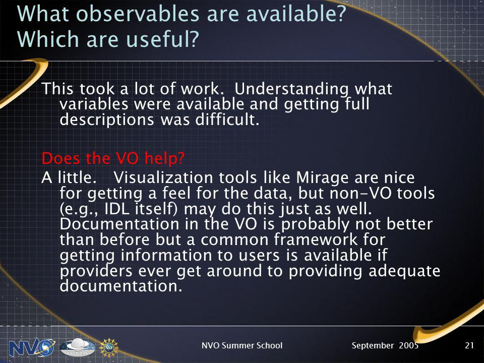 September 2005NVO Summer School21 What observables are available.