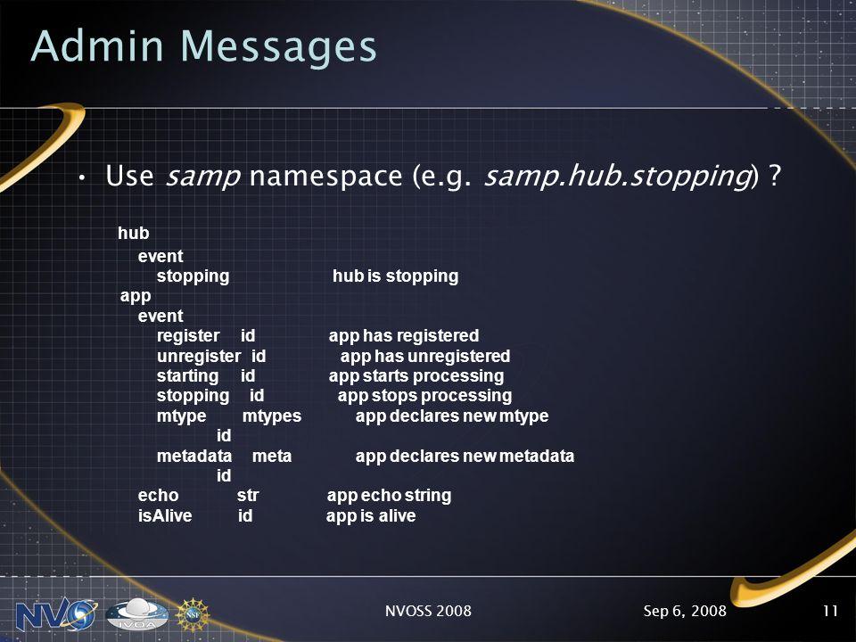 Sep 6, 2008NVOSS 200811 Admin Messages Use samp namespace (e.g.