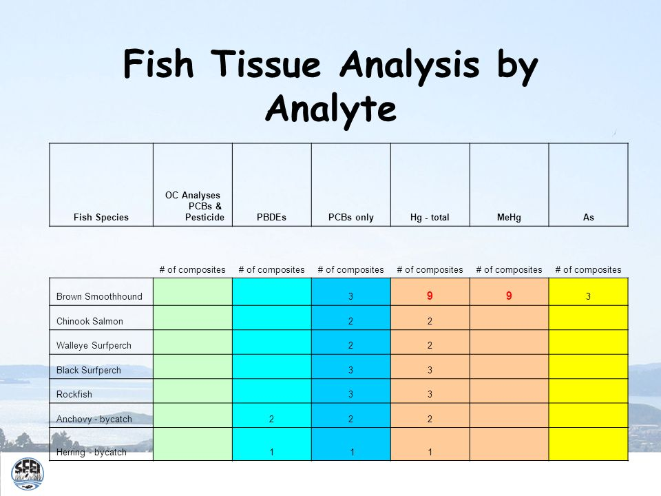 Fish Tissue Analysis by Analyte Fish Species OC Analyses PCBs & PesticidePBDEsPCBs onlyHg - totalMeHgAs # of composites Brown Smoothhound 3 99 3 Chino