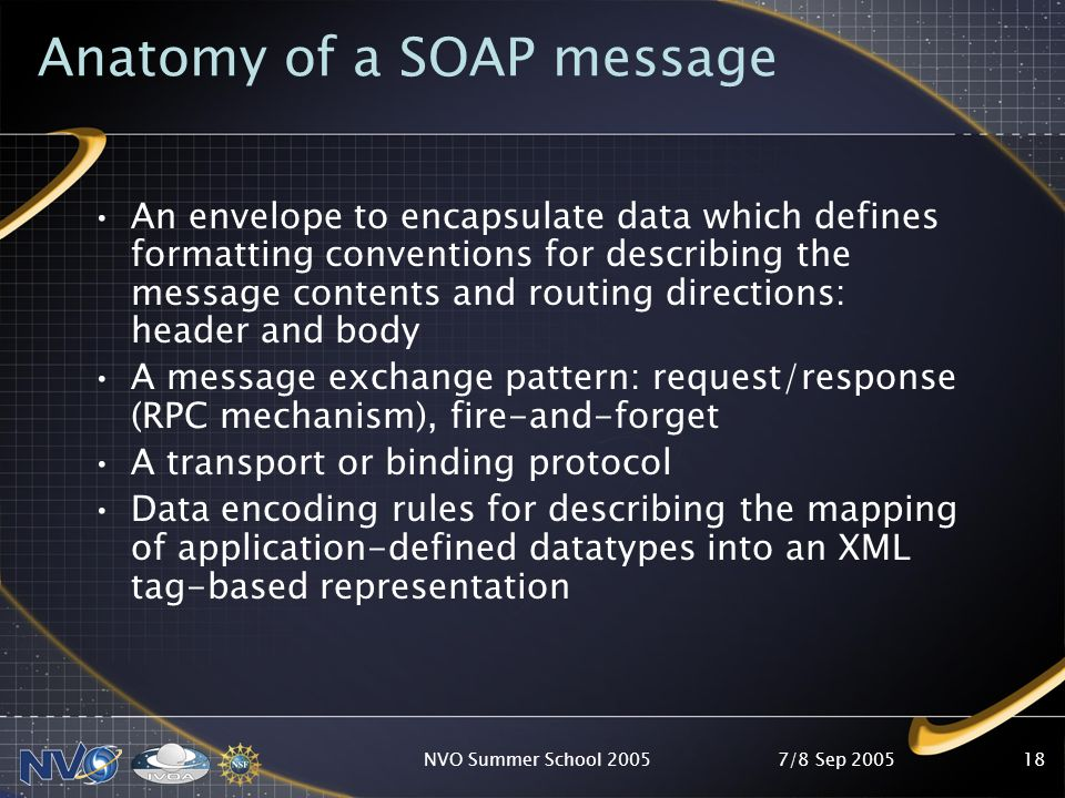 7/8 Sep 2005NVO Summer School 200517 What is SOAP.