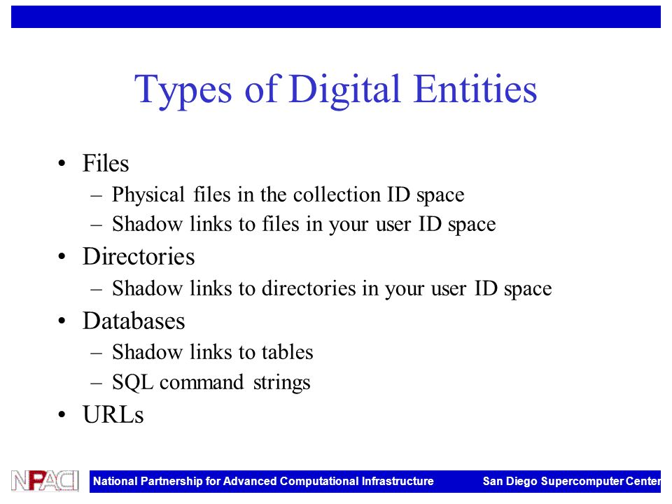 National Partnership for Advanced Computational Infrastructure San Diego Supercomputer Center Types of Digital Entities Files –Physical files in the c