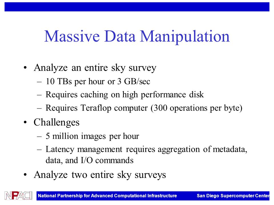 National Partnership for Advanced Computational Infrastructure San Diego Supercomputer Center Massive Data Manipulation Analyze an entire sky survey –10 TBs per hour or 3 GB/sec –Requires caching on high performance disk –Requires Teraflop computer (300 operations per byte) Challenges –5 million images per hour –Latency management requires aggregation of metadata, data, and I/O commands Analyze two entire sky surveys