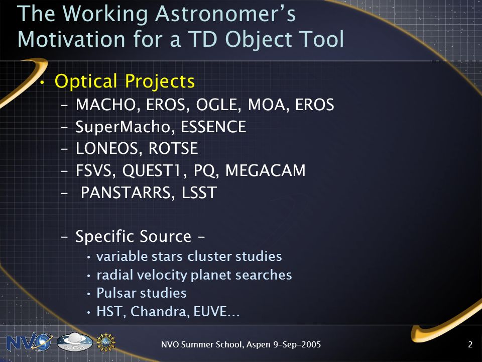 NVO Summer School, Aspen 9-Sep-2005 The Working Astronomers Motivation for a TD Object Tool Science Goals –Microlensing –Planet Searches –Quasar Variability –Variable Star Zoo