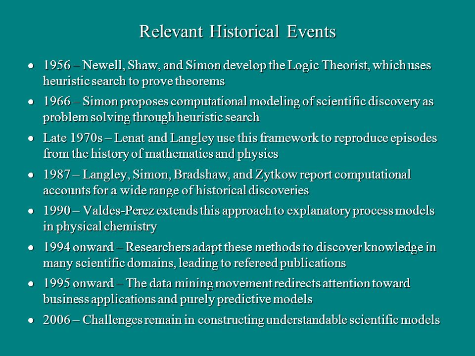Relevant Historical Events 1956 – Newell, Shaw, and Simon develop the Logic Theorist, which uses heuristic search to prove theorems 1956 – Newell, Sha