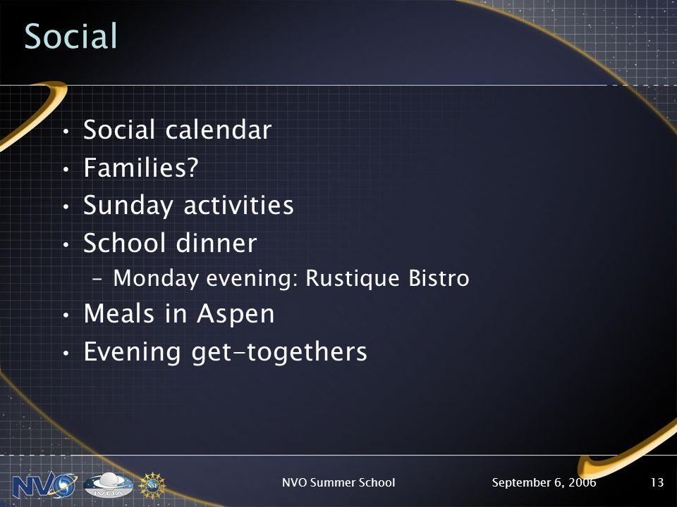 September 6, 2006NVO Summer School13 Social Social calendar Families.