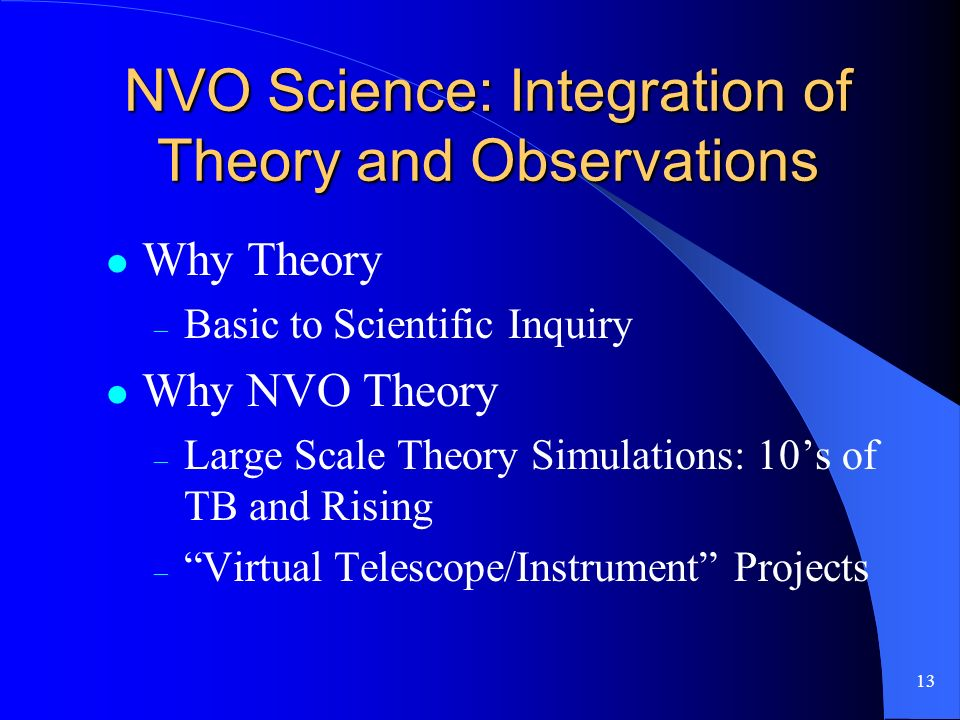 13 NVO Science: Integration of Theory and Observations Why Theory – Basic to Scientific Inquiry Why NVO Theory – Large Scale Theory Simulations: 10s of TB and Rising – Virtual Telescope/Instrument Projects