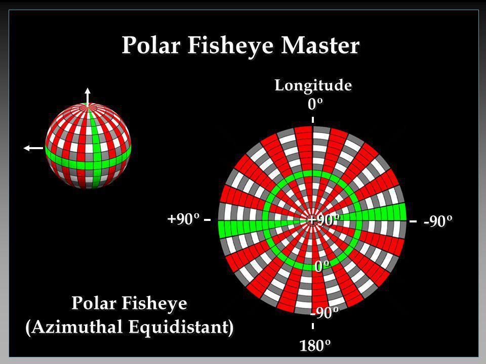 Polar Fisheye Master 180º 0º -90º Longitude +90º 0º +90º -90º Polar Fisheye (Azimuthal Equidistant)