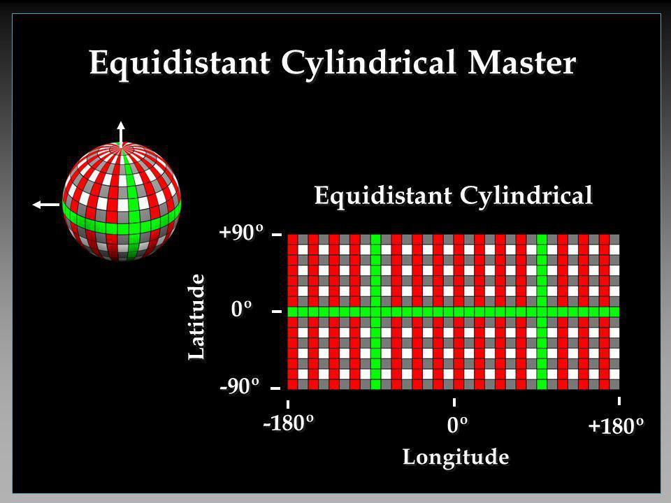 Equidistant Cylindrical Master -180º +180º 0º -90º Longitude Latitude 0º +90º Equidistant Cylindrical