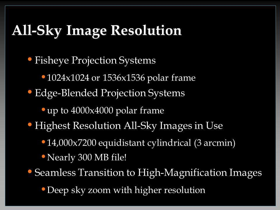 Fisheye Projection Systems 1024x1024 or 1536x1536 polar frame Edge-Blended Projection Systems up to 4000x4000 polar frame Highest Resolution All-Sky Images in Use 14,000x7200 equidistant cylindrical (3 arcmin) Nearly 300 MB file.