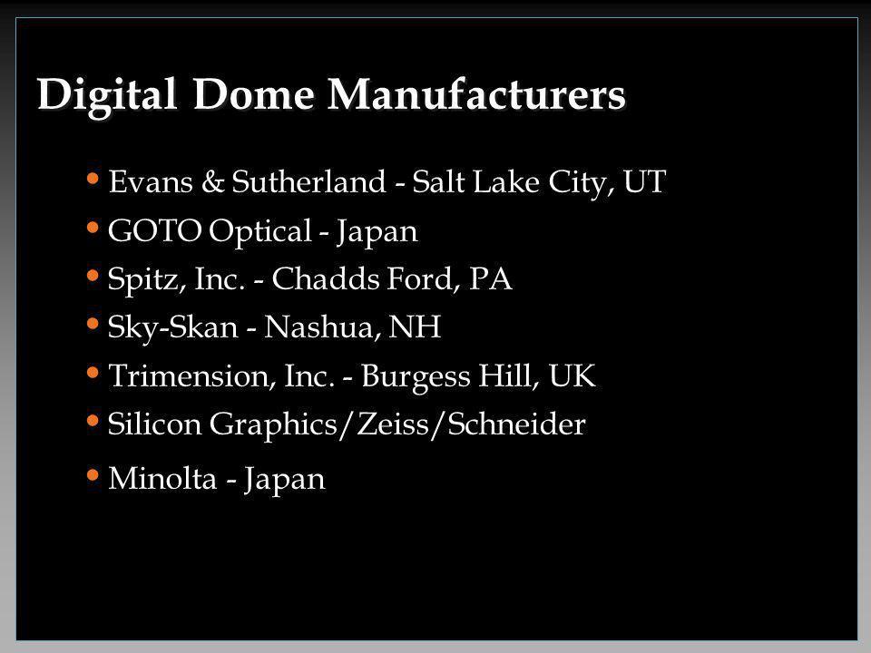 Evans & Sutherland - Salt Lake City, UT GOTO Optical - Japan Spitz, Inc. - Chadds Ford, PA Sky-Skan - Nashua, NH Trimension, Inc. - Burgess Hill, UK S