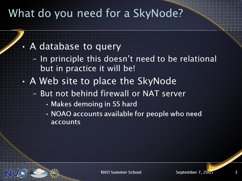 September 7, 2005NVO Summer School4 How do SkyNodes Work