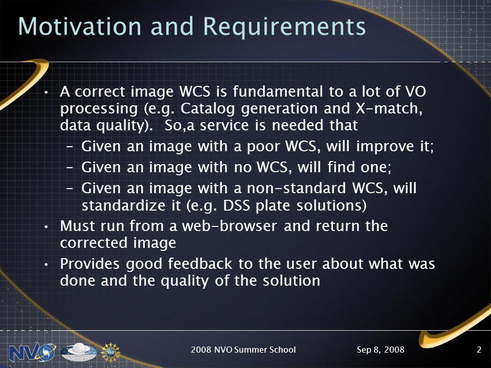Sep 8, 20082008 NVO Summer School2 Motivation and Requirements A correct image WCS is fundamental to a lot of VO processing (e.g.