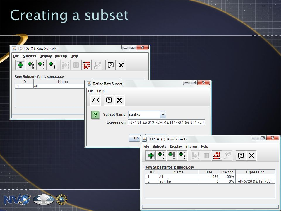 Creating a subset