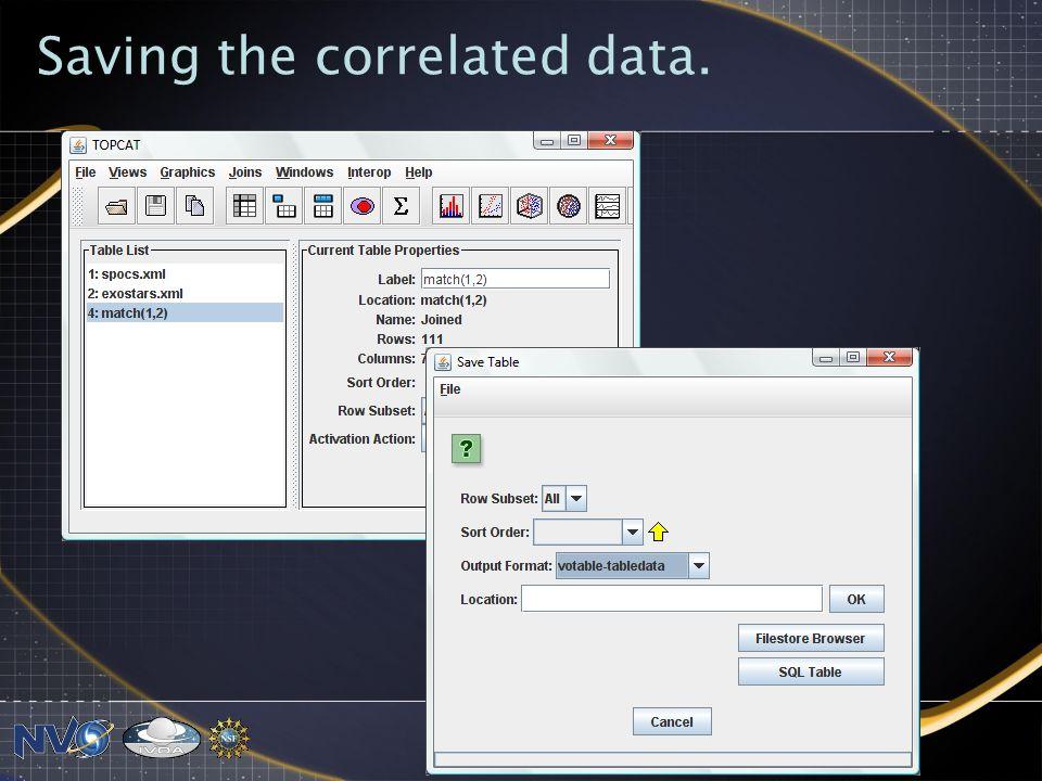 Saving the correlated data.