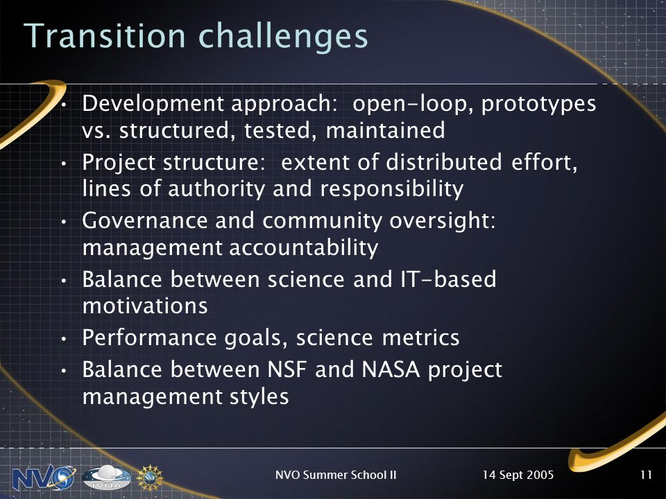14 Sept 2005NVO Summer School II11 Transition challenges Development approach: open-loop, prototypes vs. structured, tested, maintained Project struct
