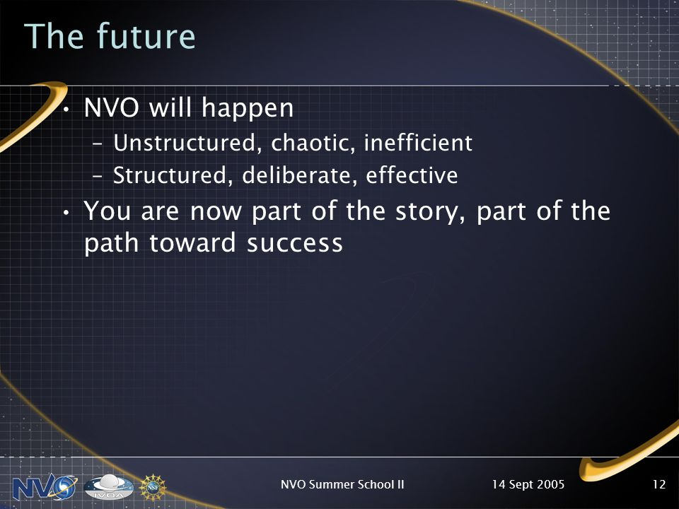 14 Sept 2005NVO Summer School II12 The future NVO will happen –Unstructured, chaotic, inefficient –Structured, deliberate, effective You are now part of the story, part of the path toward success