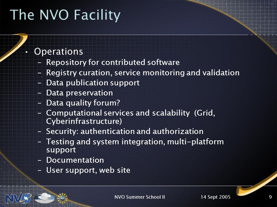 14 Sept 2005NVO Summer School II9 The NVO Facility Operations –Repository for contributed software –Registry curation, service monitoring and validation –Data publication support –Data preservation –Data quality forum.