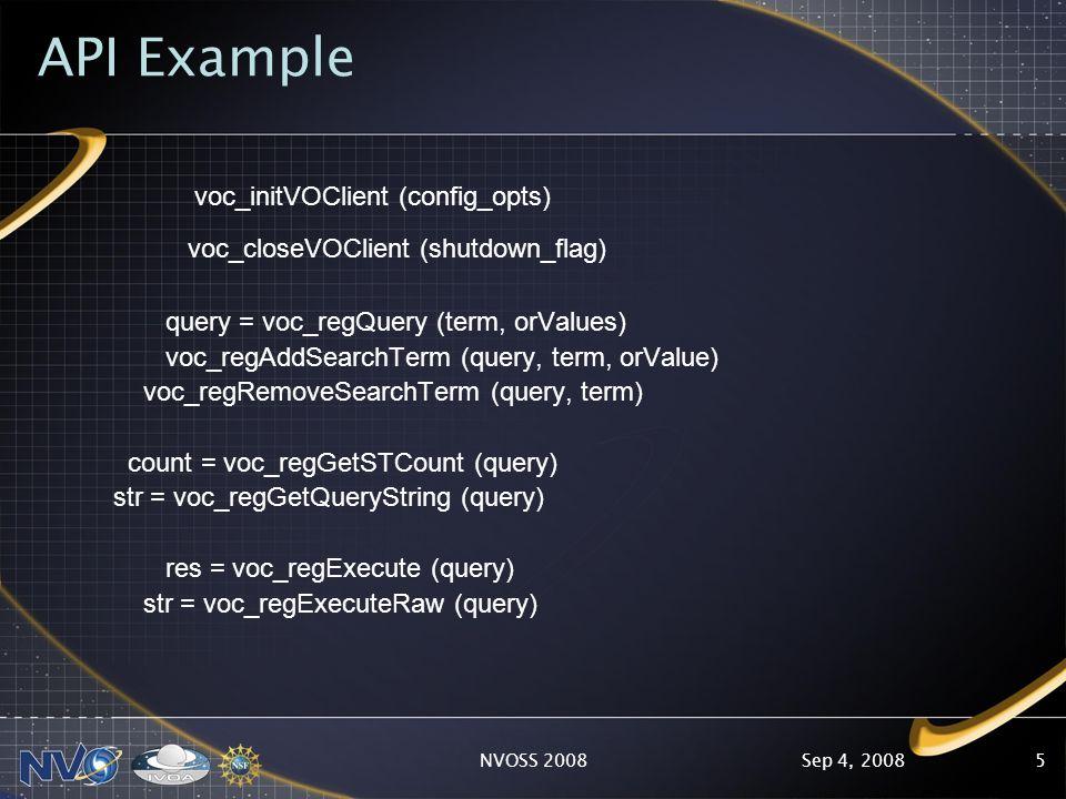 Sep 4, 2008NVOSS 20085 API Example voc_initVOClient (config_opts) voc_closeVOClient (shutdown_flag) query = voc_regQuery (term, orValues) voc_regAddSearchTerm (query, term, orValue) voc_regRemoveSearchTerm (query, term) count = voc_regGetSTCount (query) str = voc_regGetQueryString (query) res = voc_regExecute (query) str = voc_regExecuteRaw (query)
