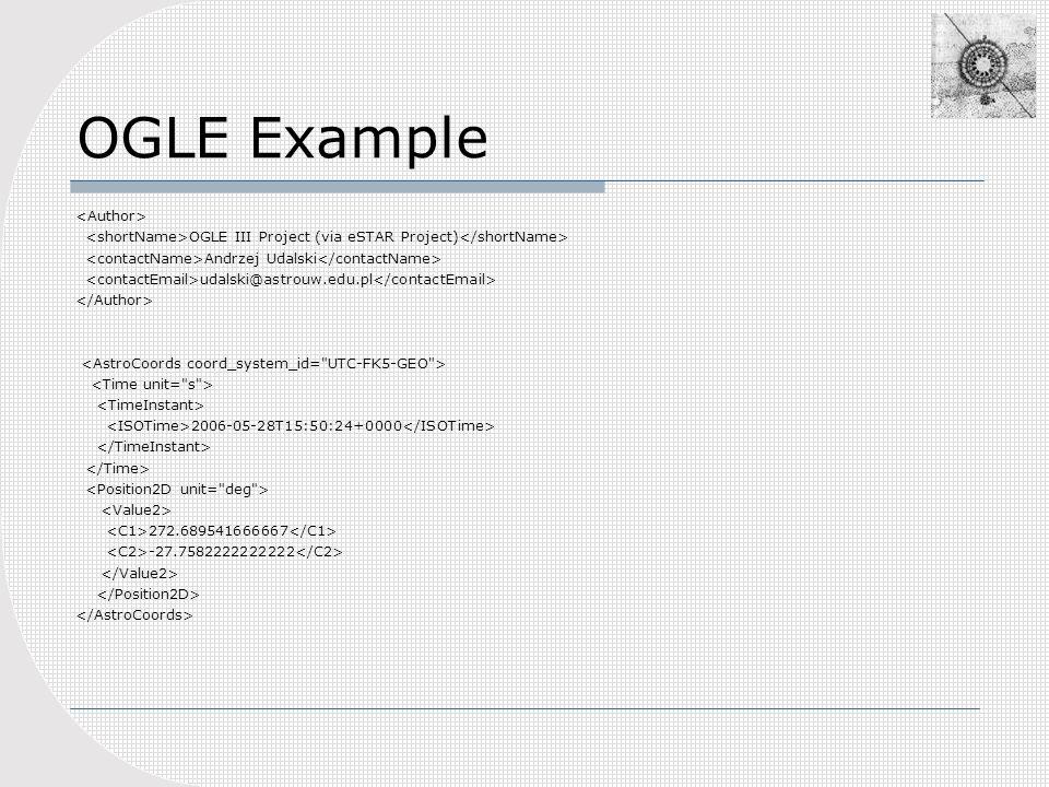 OGLE Example OGLE III Project (via eSTAR Project) Andrzej Udalski udalski@astrouw.edu.pl 2006-05-28T15:50:24+0000 272.689541666667 -27.7582222222222