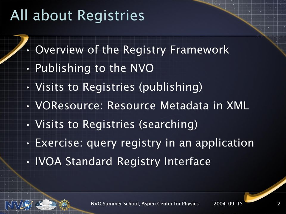 2004-09-15NVO Summer School, Aspen Center for Physics2 All about Registries Overview of the Registry Framework Publishing to the NVO Visits to Registries (publishing) VOResource: Resource Metadata in XML Visits to Registries (searching) Exercise: query registry in an application IVOA Standard Registry Interface