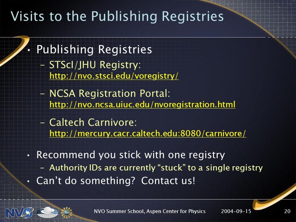 2004-09-15NVO Summer School, Aspen Center for Physics20 Visits to the Publishing Registries Publishing Registries –STScI/JHU Registry: http://nvo.stsc