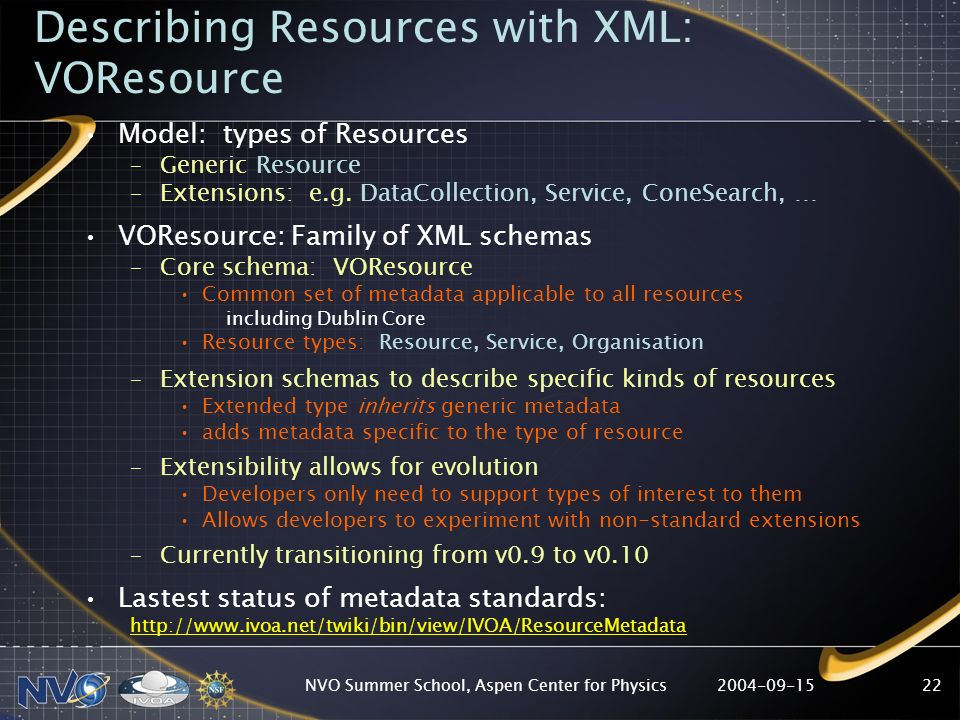 2004-09-15NVO Summer School, Aspen Center for Physics22 Describing Resources with XML: VOResource Model: types of Resources –Generic Resource –Extensi