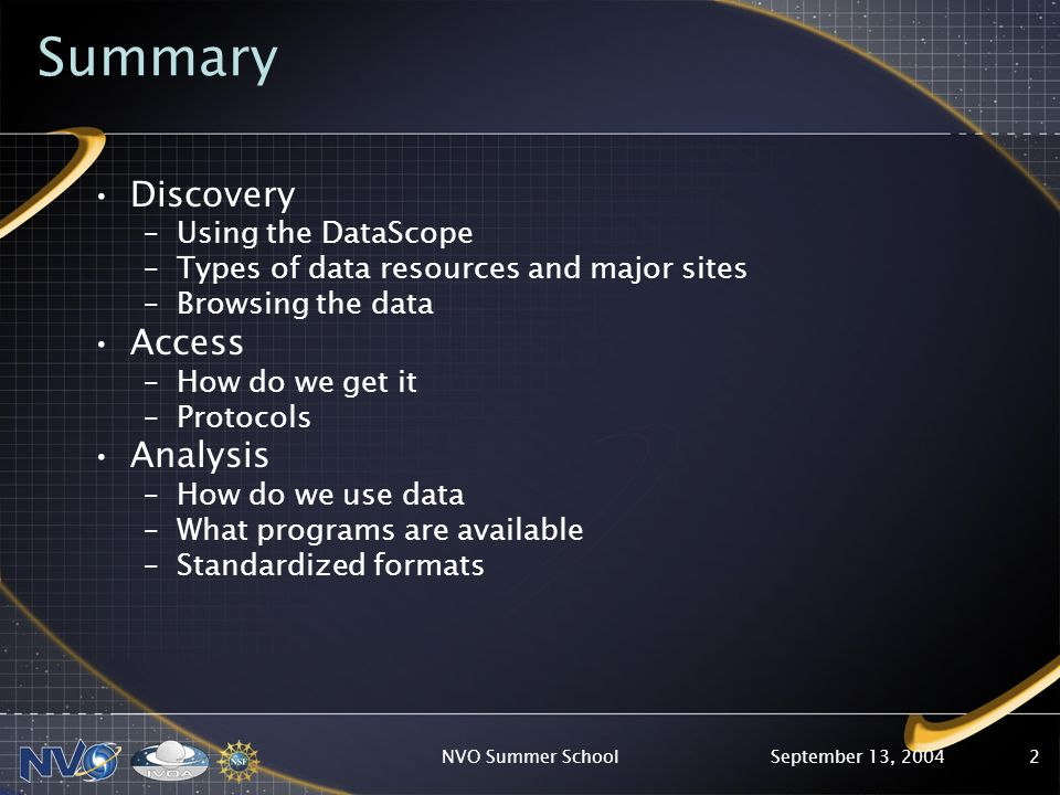 September 13, 2004NVO Summer School2 Summary Discovery –Using the DataScope –Types of data resources and major sites –Browsing the data Access –How do