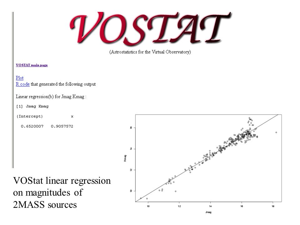 VOStat linear regression on magnitudes of 2MASS sources