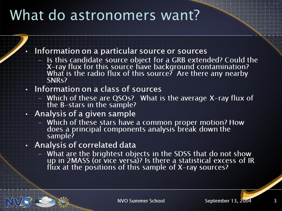 September 13, 2004NVO Summer School3 What do astronomers want.