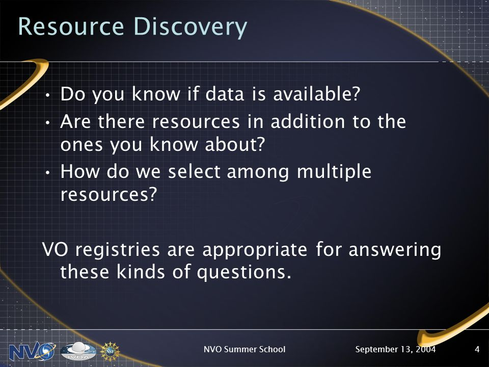 September 13, 2004NVO Summer School4 Resource Discovery Do you know if data is available? Are there resources in addition to the ones you know about?