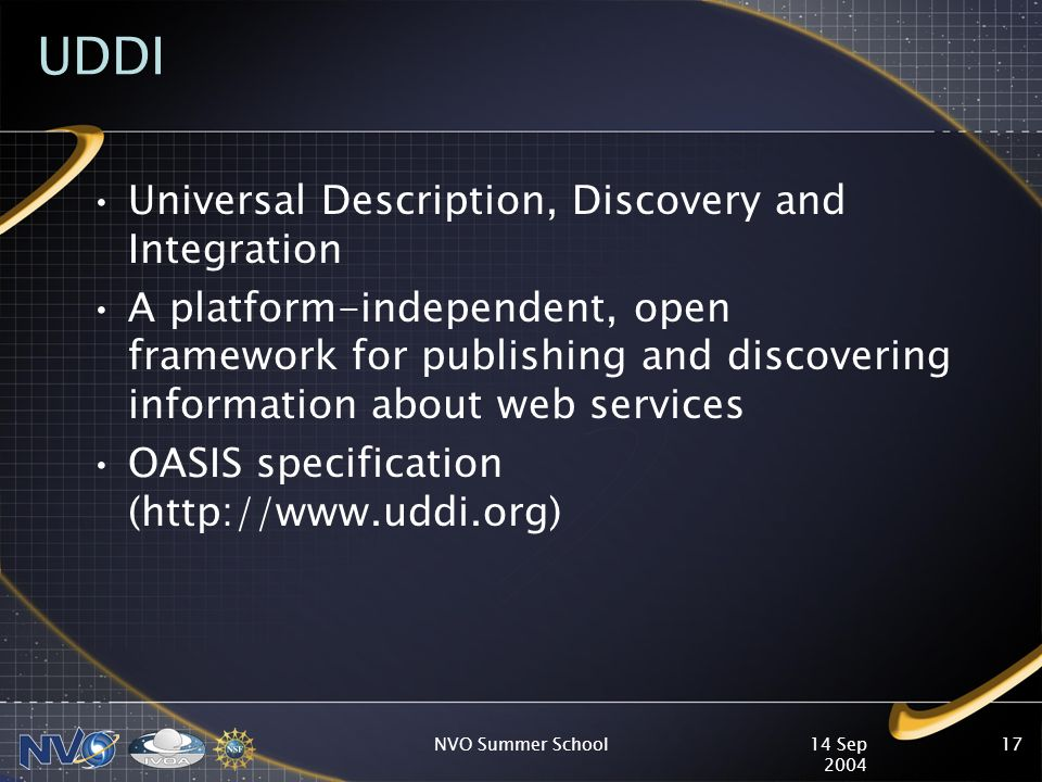 14 Sep 2004 NVO Summer School17 UDDI Universal Description, Discovery and Integration A platform-independent, open framework for publishing and discovering information about web services OASIS specification (http://www.uddi.org)