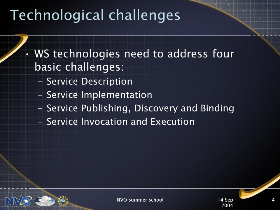 14 Sep 2004 NVO Summer School4 Technological challenges WS technologies need to address four basic challenges: –Service Description –Service Implementation –Service Publishing, Discovery and Binding –Service Invocation and Execution