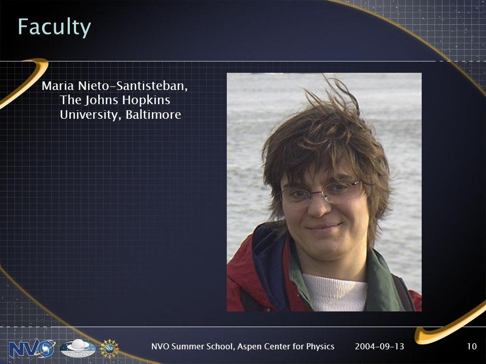 2004-09-13NVO Summer School, Aspen Center for Physics10 Faculty Maria Nieto-Santisteban, The Johns Hopkins University, Baltimore