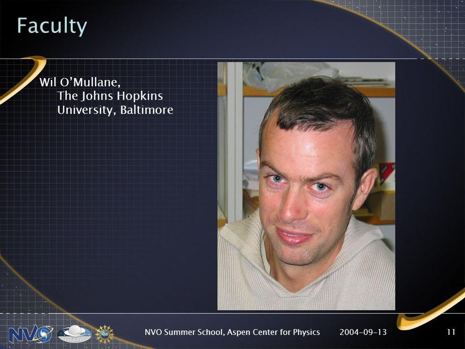 2004-09-13NVO Summer School, Aspen Center for Physics11 Faculty Wil OMullane, The Johns Hopkins University, Baltimore