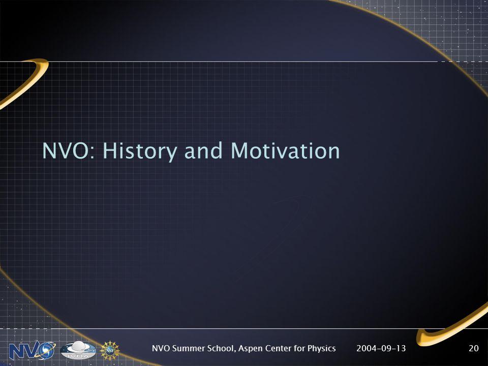 2004-09-13NVO Summer School, Aspen Center for Physics20 NVO: History and Motivation