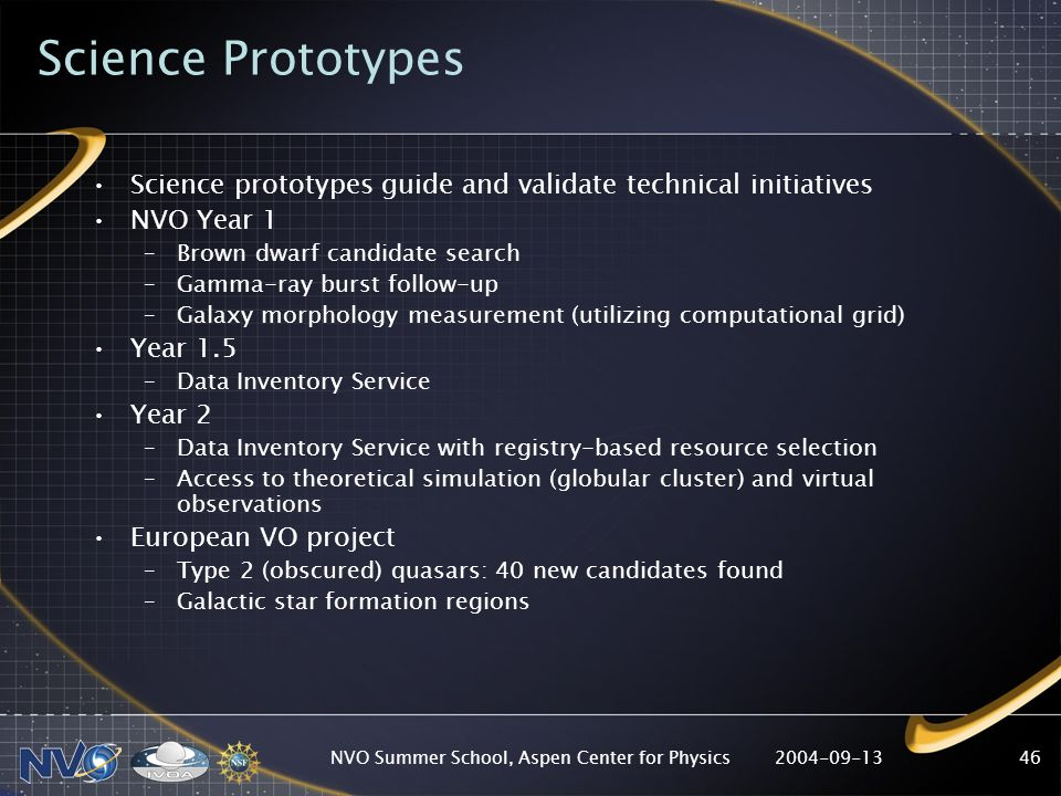 2004-09-13NVO Summer School, Aspen Center for Physics46 Science Prototypes Science prototypes guide and validate technical initiatives NVO Year 1 –Brown dwarf candidate search –Gamma-ray burst follow-up –Galaxy morphology measurement (utilizing computational grid) Year 1.5 –Data Inventory Service Year 2 –Data Inventory Service with registry-based resource selection –Access to theoretical simulation (globular cluster) and virtual observations European VO project –Type 2 (obscured) quasars: 40 new candidates found –Galactic star formation regions