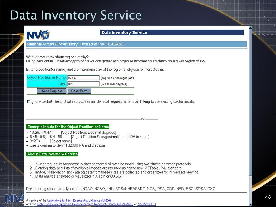 2004-09-13NVO Summer School, Aspen Center for Physics48 Data Inventory Service