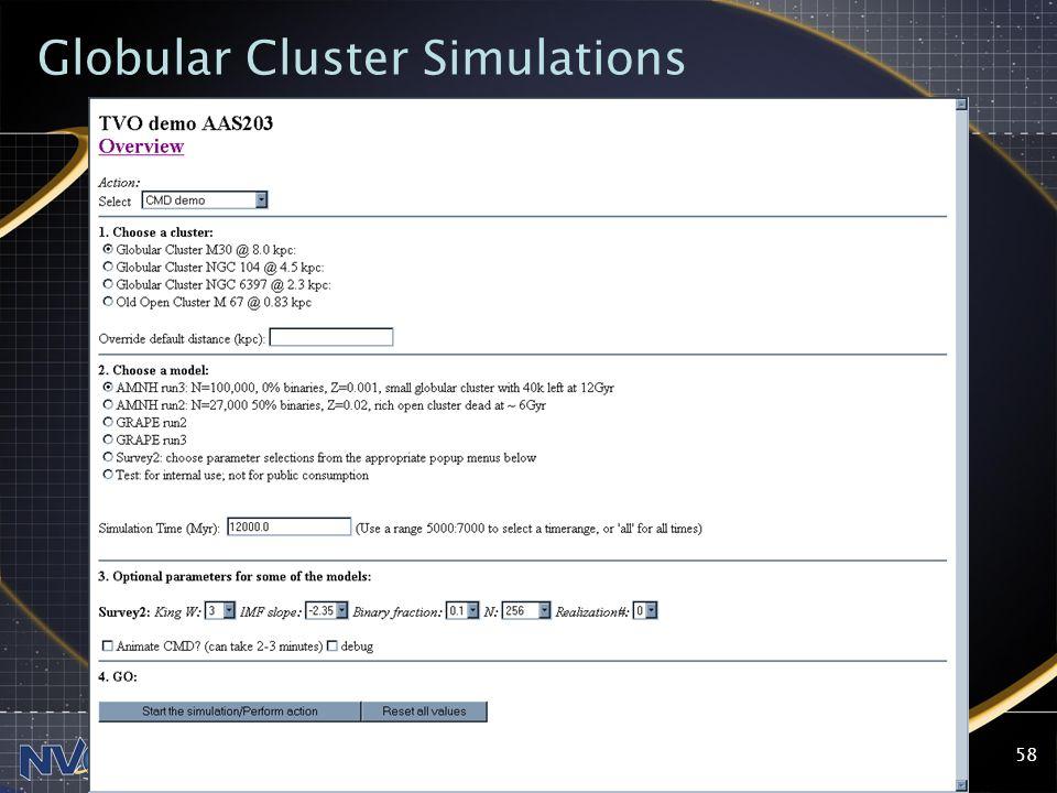 2004-09-13NVO Summer School, Aspen Center for Physics58 Globular Cluster Simulations
