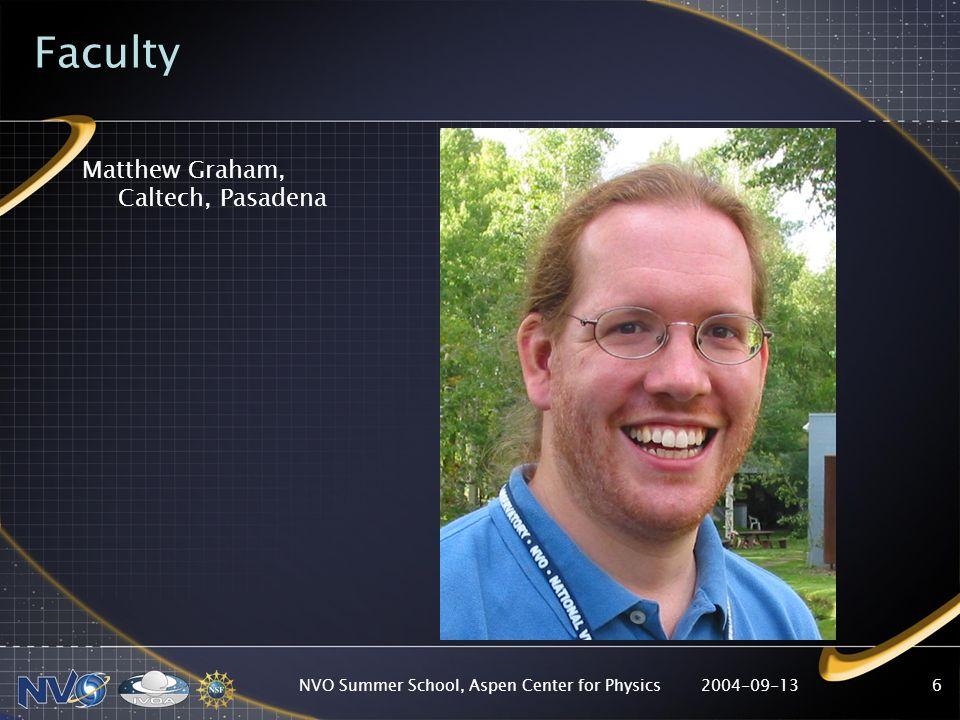 2004-09-13NVO Summer School, Aspen Center for Physics6 Faculty Matthew Graham, Caltech, Pasadena