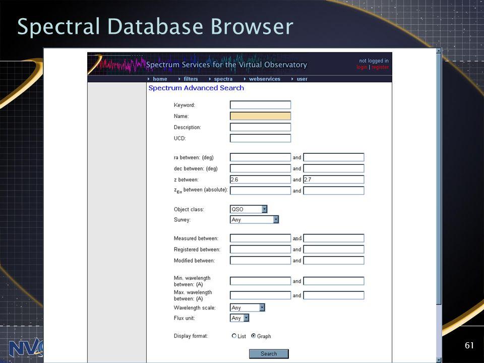 2004-09-13NVO Summer School, Aspen Center for Physics61 Spectral Database Browser