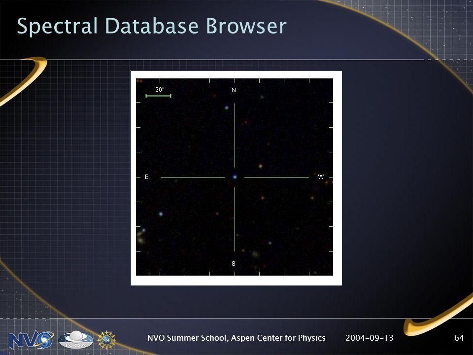 2004-09-13NVO Summer School, Aspen Center for Physics64 Spectral Database Browser