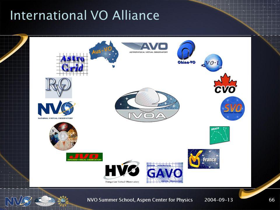 2004-09-13NVO Summer School, Aspen Center for Physics66 International VO Alliance