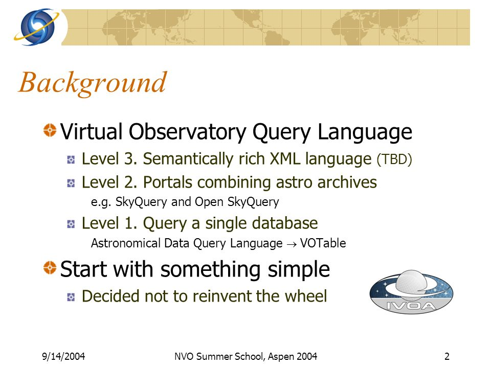 9/14/2004NVO Summer School, Aspen Background Virtual Observatory Query Language Level 3.