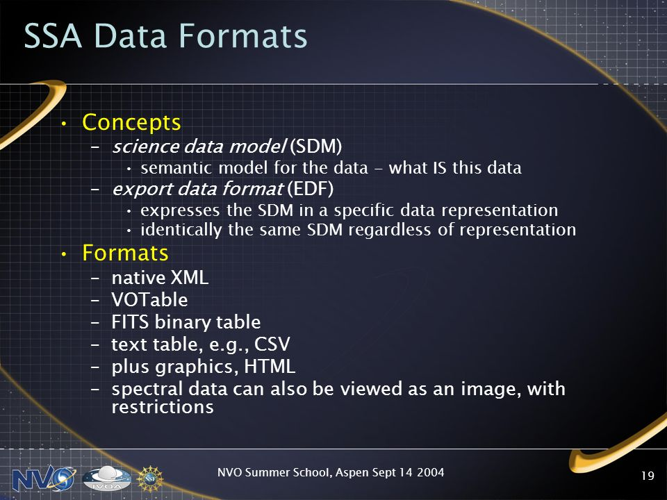 NVO Summer School, Aspen Sept 14 2004 19 SSA Data Formats Concepts –science data model (SDM) semantic model for the data - what IS this data –export d