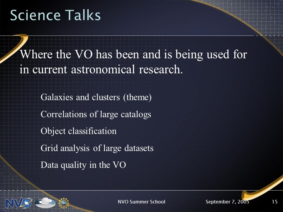 September 7, 2005NVO Summer School15 Science Talks Where the VO has been and is being used for in current astronomical research.